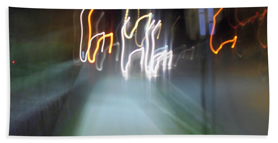 Photograph Bath Towel featuring the photograph Crazy Lights by Thomas Valentine