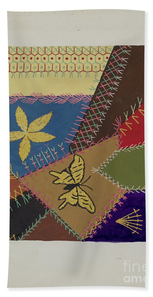 Hand Towel featuring the drawing Crazy Quilt (section) by Ruth M. Barnes