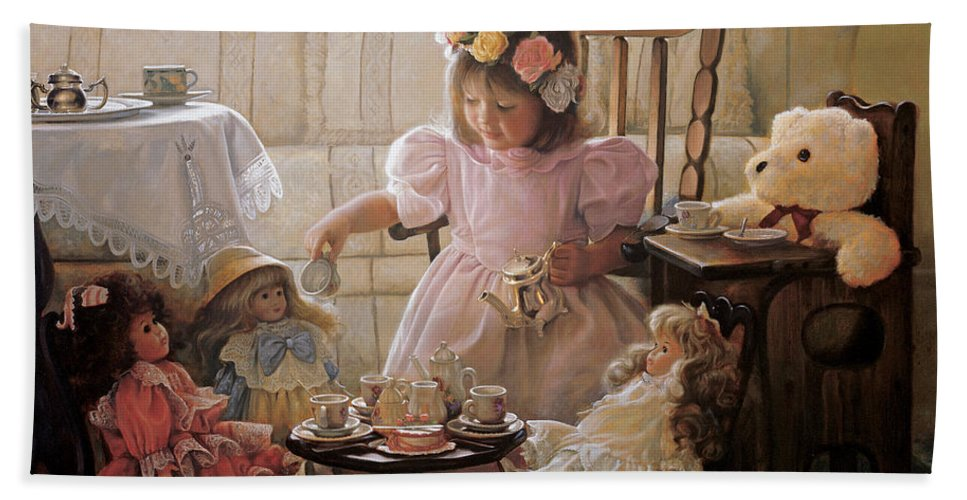 Girl Bath Towel featuring the painting Cream and Sugar by Greg Olsen