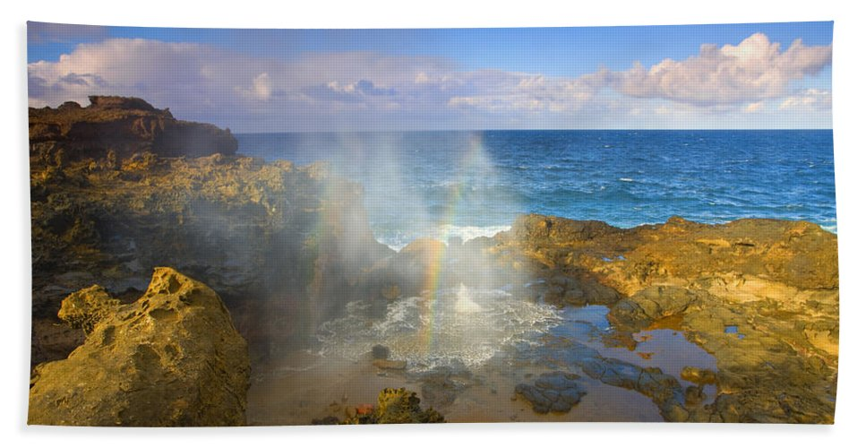 Blowhole Hand Towel featuring the photograph Creating Miracles by Mike Dawson