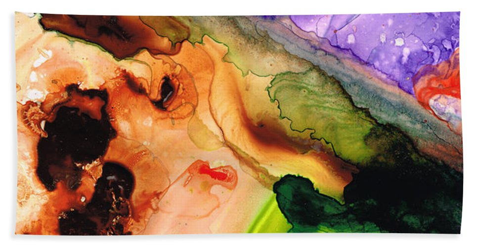 Abstract Art Hand Towel featuring the painting Creation's Embrace by Sharon Cummings