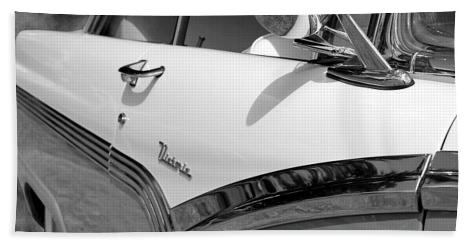 1956 Bath Sheet featuring the photograph Creative Chrome - 1956 Ford Fairlane Victoria by Betty Northcutt