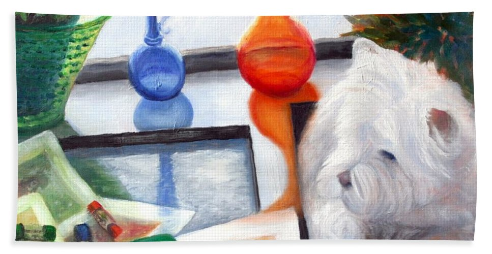 Dog Bath Sheet featuring the painting Creative Reflections by Minaz Jantz