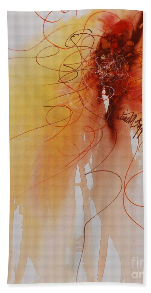 Creativity Bath Towel featuring the painting Creativity by Nadine Rippelmeyer