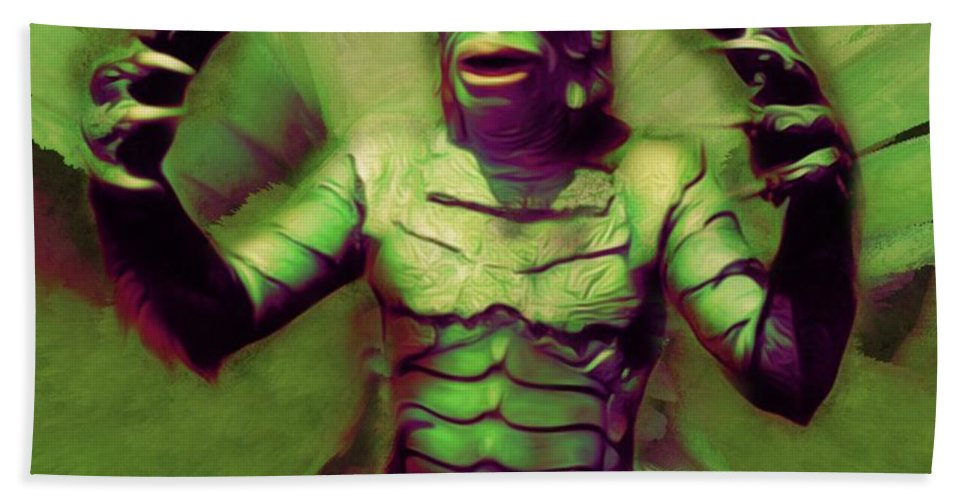 Creature Bath Sheet featuring the digital art Creature From The Black Lagoon by Mary Bassett