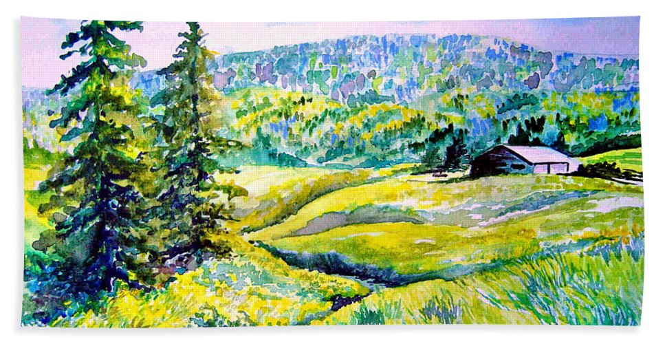Arkansas Creek And Cottage Bath Towel featuring the painting Creek To The Cabin by Joanne Smoley