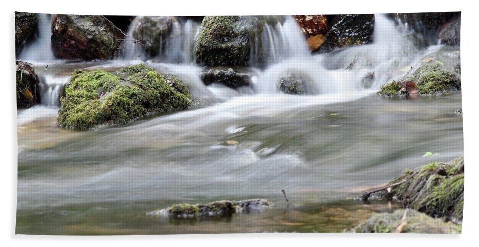 Creek Hand Towel featuring the photograph Creek With Rocks Spring Scene by Goce Risteski