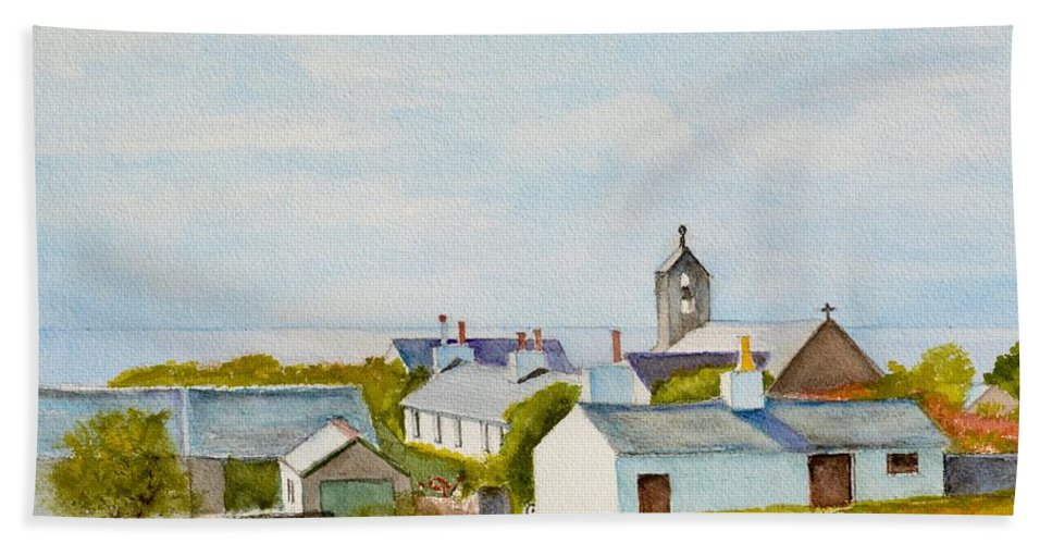 Island Hand Towel featuring the painting Cregneash And St Peters Church by Dai Wynn