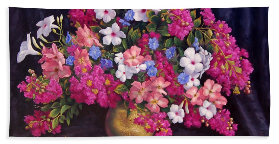 Roses Hand Towel featuring the painting Crepe Myrtle And Roses by Johanna Girard