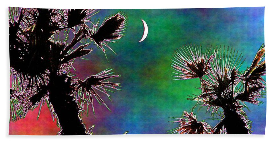Moon Hand Towel featuring the photograph Crescent And Palms 2 by Tim Allen