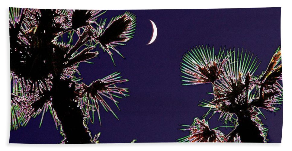 Moon Hand Towel featuring the photograph Crescent And Palms by Tim Allen