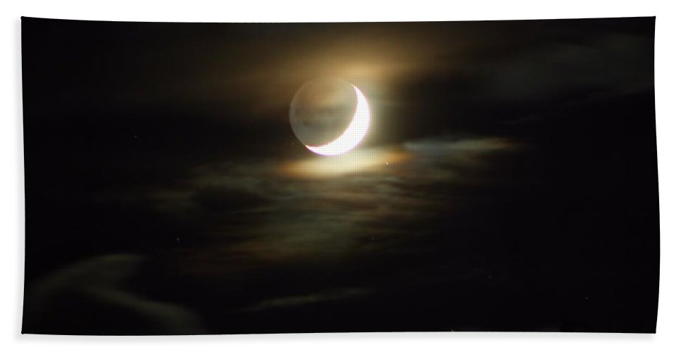 Moon Bath Sheet featuring the photograph Crescent Moon In The Clouds by Kathryn Meyer