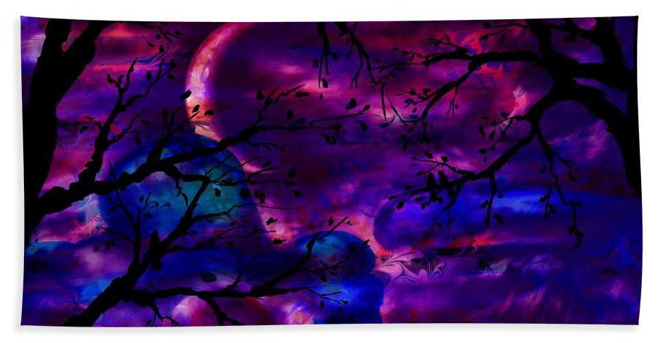 Abstract Hand Towel featuring the digital art Crescent Moon by Rachel Christine Nowicki