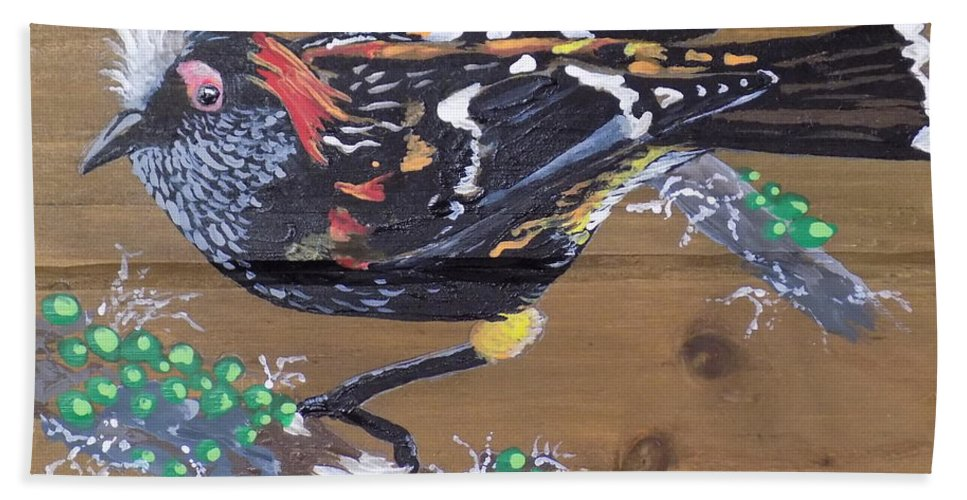 Crested Honey Creeper Bath Sheet featuring the painting Crested Honeycreeper by Paul Bashore