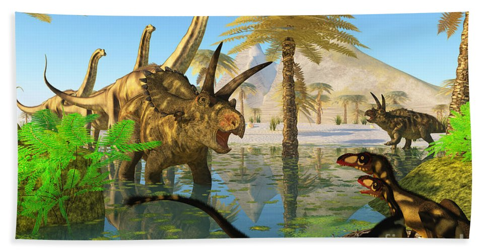 Coahuilaceratops Hand Towel featuring the painting Cretaceous Swamp by Corey Ford