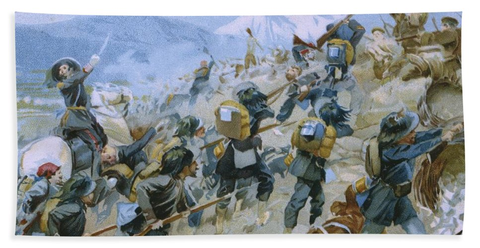 Male; Soldier; Soldiers; Army; Uniform; Military; Fighting; Infantry; Rider; Bayonet; Charge; Horse; Horseback; Riding; Nationalist; Nationalists; Italian Unification; War Of Independence Bath Sheet featuring the painting Crimean War And The Battle Of Chernaya by Italian School