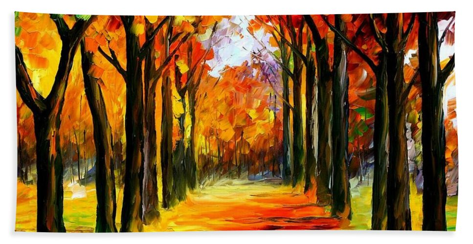 Afremov Bath Sheet featuring the painting Crimson Alley by Leonid Afremov