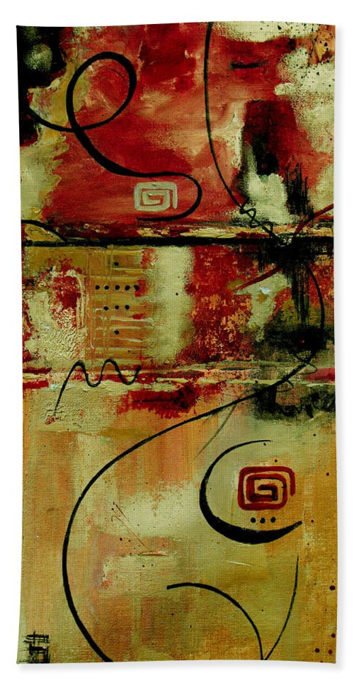 Abstract Hand Towel featuring the painting Crimson And Copper by Ruth Palmer