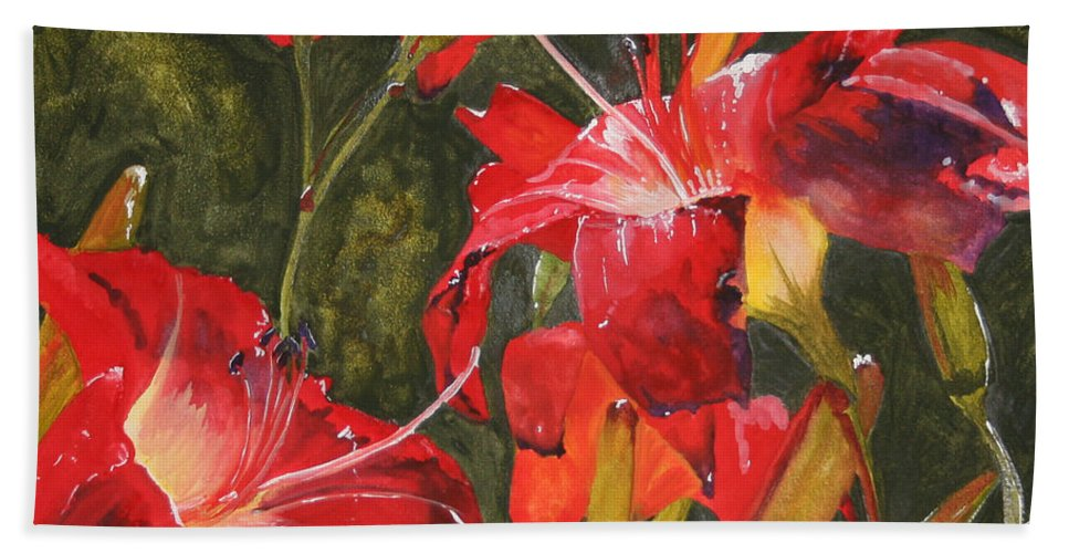 Red Bath Towel featuring the painting Crimson Light by Jean Blackmer