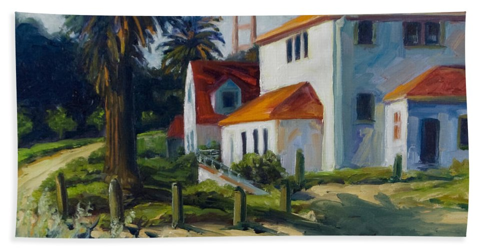 San Francisco Bath Sheet featuring the painting Crissy Field by Rick Nederlof