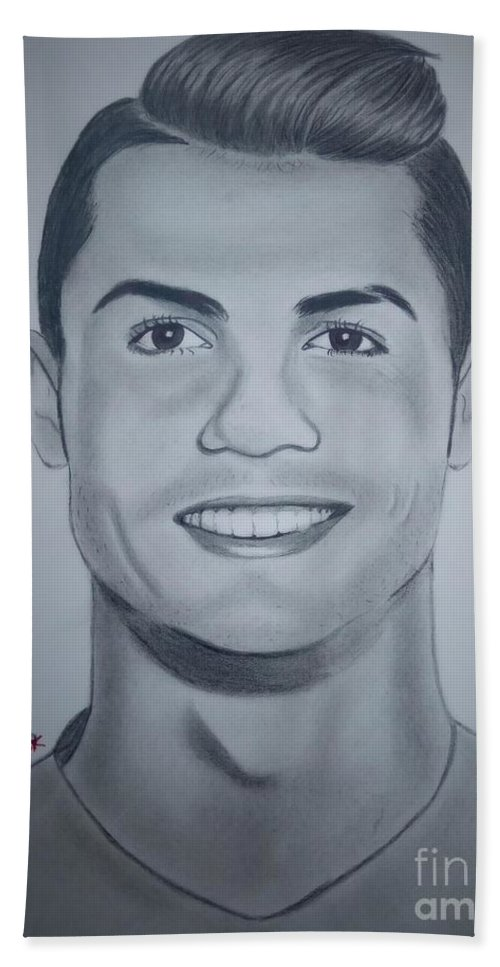 Cristiano ronaldo pencil drawing football liga real madrid celebrity man creativity amazing bath towel featuring the