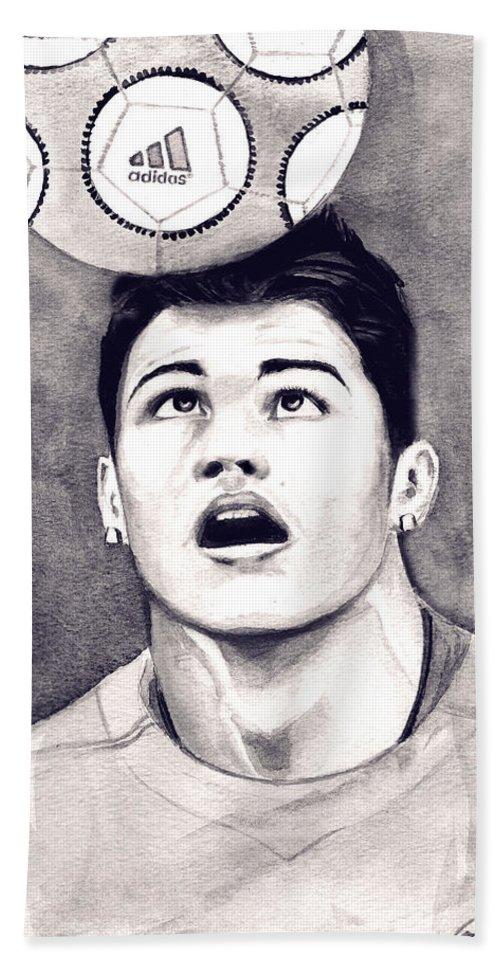Ronaldo Portrait Hand Towel featuring the painting Cristiano Ronaldo by Alban Dizdari