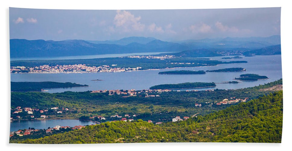 Kornati Hand Towel featuring the photograph Croatian Islands Archipelago Aerial View by Brch Photography