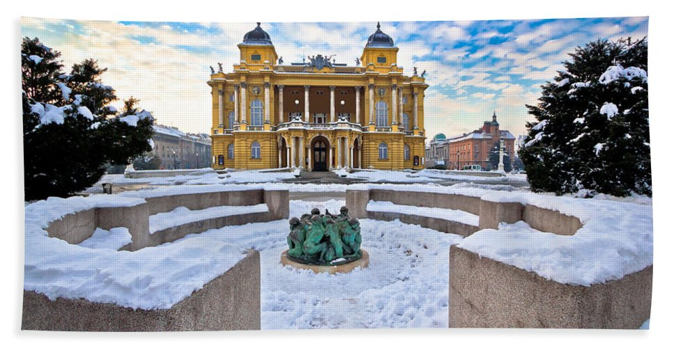 Zagreb Hand Towel featuring the photograph Croatian National Theater In Zagreb Winter View by Brch Photography