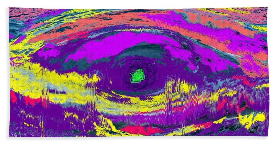 Abstract Hand Towel featuring the digital art Crocodile Eye by Ian MacDonald