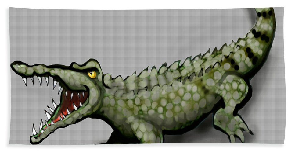 Crocodile Bath Sheet featuring the greeting card Crocodile by Kevin Middleton