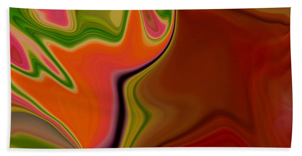 Abstract Hand Towel featuring the digital art Crooked Billed Bird by Ruth Palmer