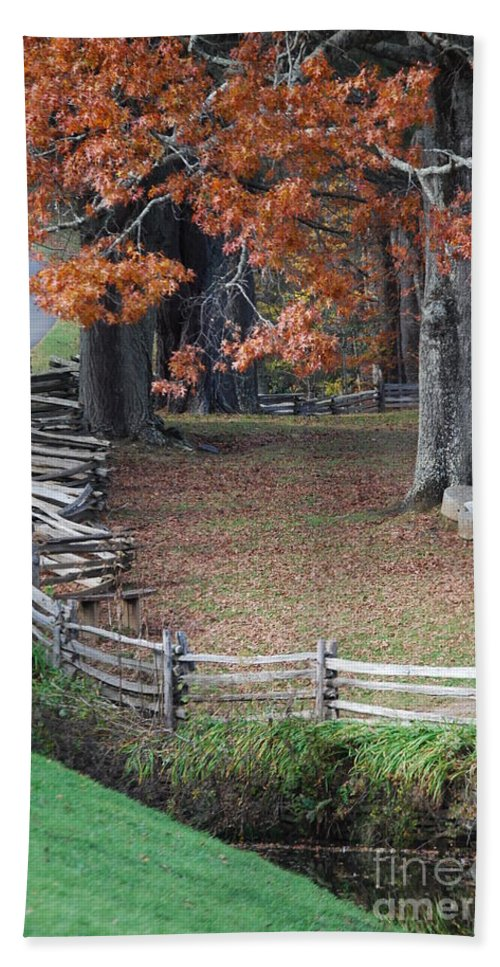 Archecture Hand Towel featuring the photograph Crooked Fence by Eric Liller