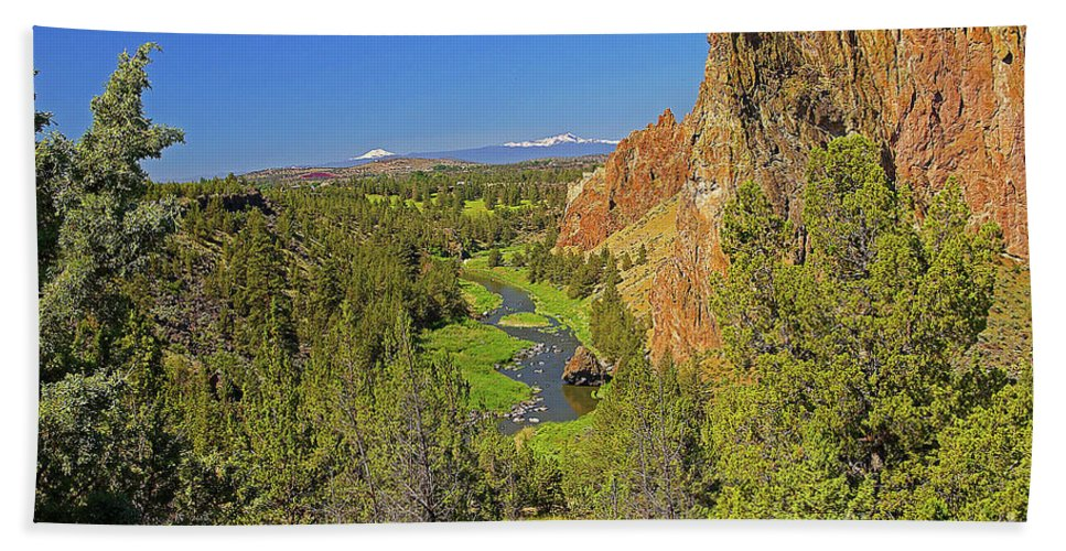 Oregon Bath Sheet featuring the photograph Crooked River And Mt Hood Oregon by Rich Walter