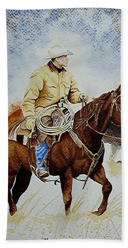 Art Bath Sheet featuring the painting Cropped Ranch Rider by Jimmy Smith