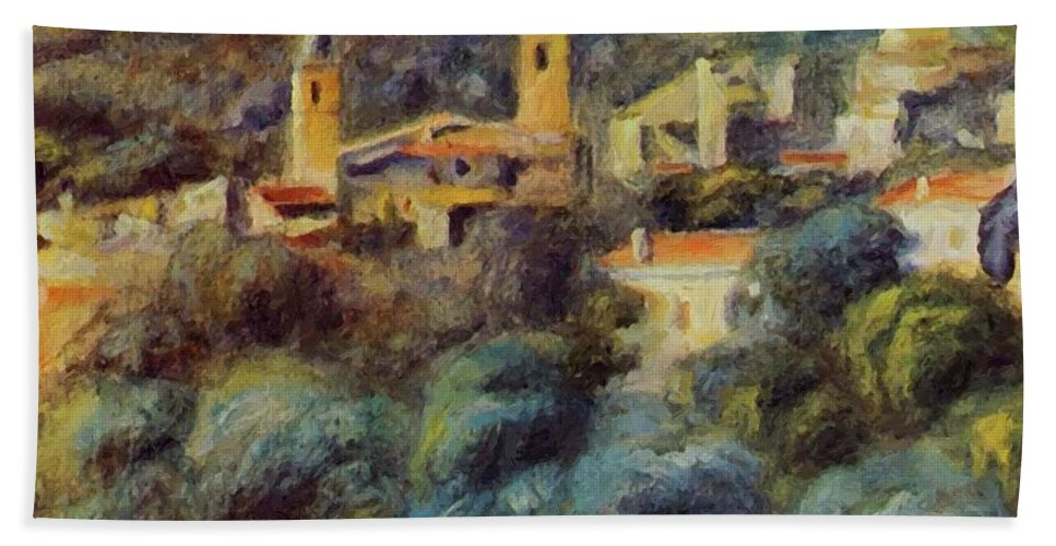 Cros Hand Towel featuring the painting Cros De Cagnes 1905 by Renoir PierreAuguste