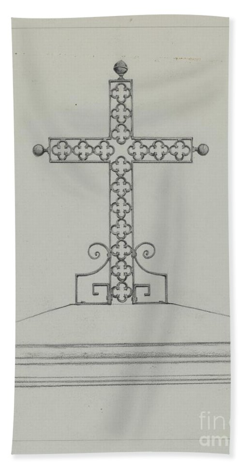 Hand Towel featuring the drawing Cross by Arelia Arbo