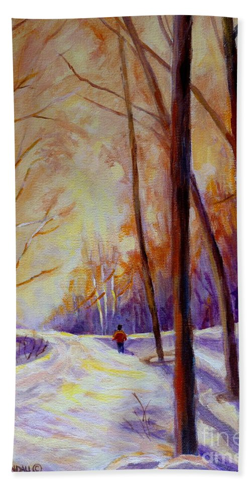 Cross Country Siing St. Agathe Quebec Hand Towel featuring the painting Cross Country Sking St. Agathe Quebec by Carole Spandau