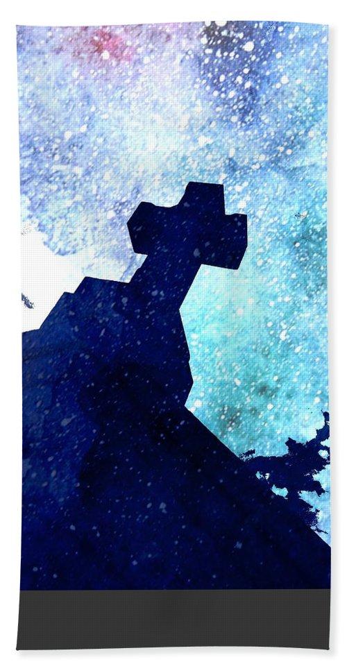 Mark J Dunn Hand Towel featuring the photograph Blue Cross by Mark J Dunn