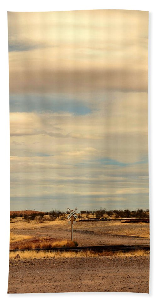 Cross Road Bath Sheet featuring the photograph Cross Road In New Mexico by Susanne Van Hulst