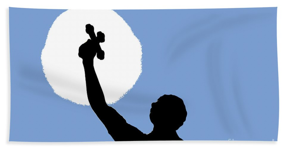 Cross Hand Towel featuring the photograph Cross Sky by David Lee Thompson
