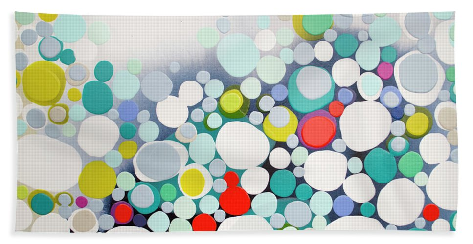 Abstract Hand Towel featuring the painting Cross The Line by Claire Desjardins