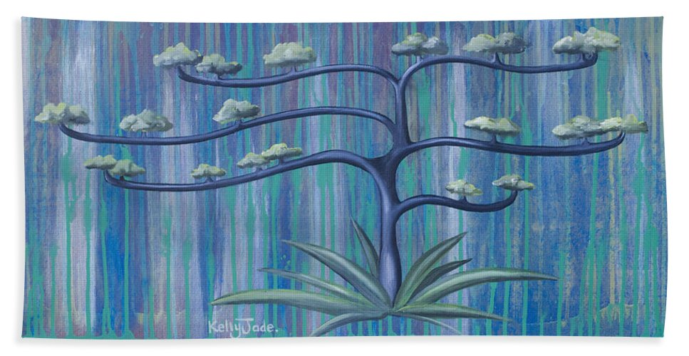 Tree Bath Sheet featuring the painting Cross Tree by Kelly Jade King