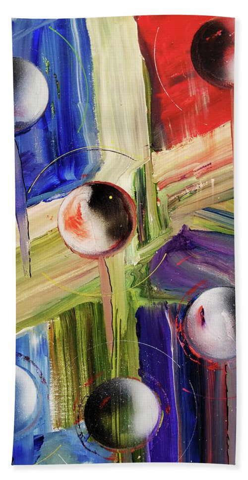 Painting Hand Towel featuring the painting Crossing Dimensions by David Deak