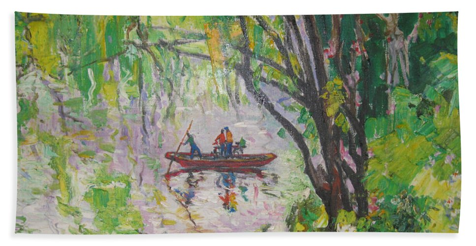 Crossing Hand Towel featuring the painting Crossing by Guanyu Shi