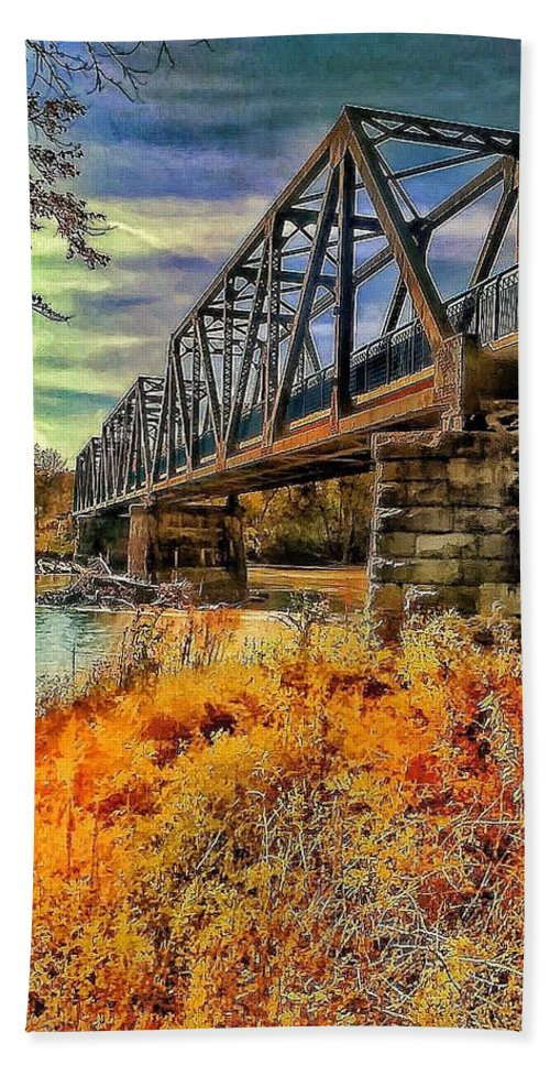 Wabash Bridge Bath Sheet featuring the photograph Crossover by Denny Lyons