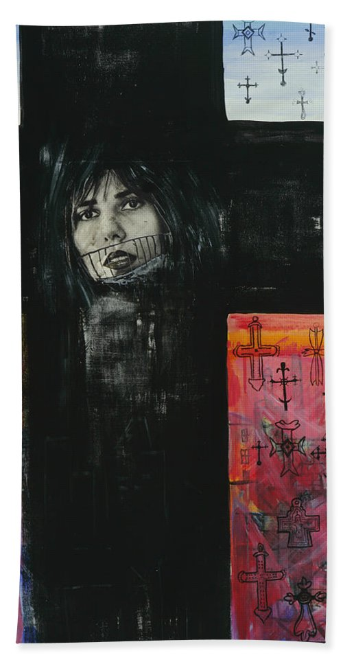 Cross Bath Sheet featuring the painting Crossroad by Yelena Tylkina