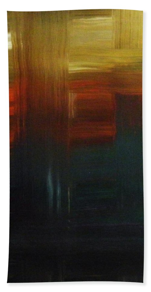 Abstract Hand Towel featuring the painting Crossroads by Todd Hoover