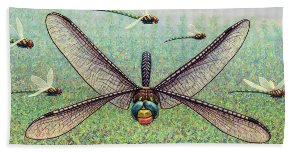 Dragonfly Hand Towel featuring the painting Crossways by James W Johnson