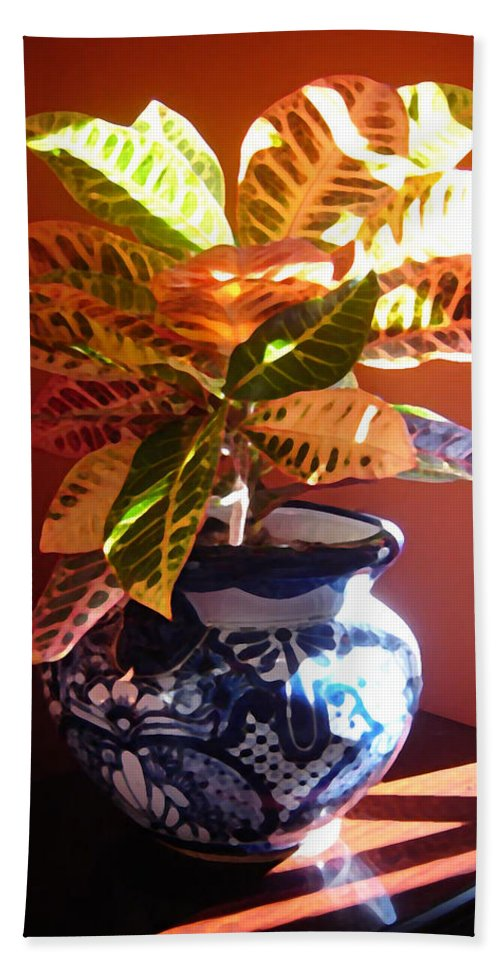 Potted Plant Bath Towel featuring the photograph Croton In Talavera Pot by Amy Vangsgard