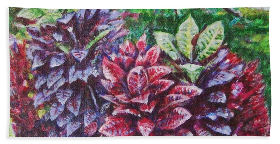 Landscape Hand Towel featuring the painting Crotons 1 by Usha Shantharam
